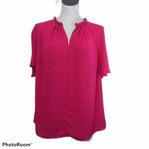 Tahari Woman Fuschia Pink Flutter Blouse Size 1X